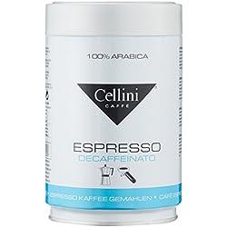 Cellini Premium Espresso, 100% Arabica, Decaffeinato, gemahlen, Dose mit Deckel, 1er Pack (1 x 250 g)