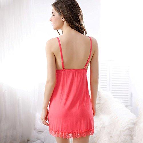 lpkone-Cute strap rouge pastèque rose doux et confortable Chemise dentelle femmes lingerie sexy costume rose,Taille libre Watermelon Red
