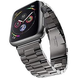 Evershop 42mm Bracelet pour Apple Watch Series 4 3 2 1 - iWatch Bracelet Métal Fermoir en Acier Inoxydable Bande de Remplacement pour iWatch Tous Les Modèles-Noir