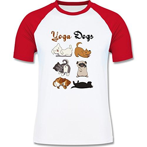 Statement Shirts - Yoga Dogs - zweifarbiges Baseballshirt für Männer Weiß/Rot