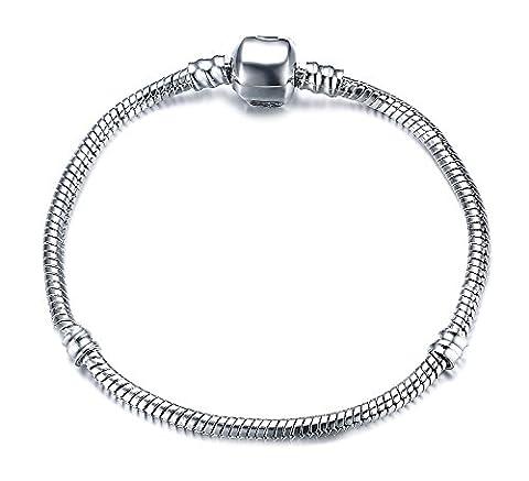 Vnox Plaqué Argent bricolage chaîne serpent Charm Pandora Bracelet pour Femmes Filles meilleur cadeau 19cm