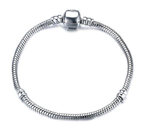 Vnox Silber überzogenes DIY Schlange Ketten Charme Pandora Armband für Frauen Mädchen bestes Geschenk 17cm