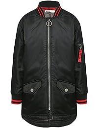 M&Co Boys Black Long Sleeve Red Stripe Rib Knit Collar Cuff Silver Hoop Zip Front Longline Bomber Jacket