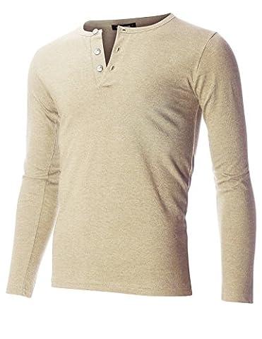FLATSEVEN Men's Slim Fit Casual Long Sleeve Henley T Shirt (THL100) Beige, M