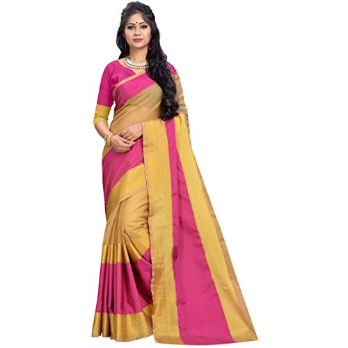Cozee Shopping Saree With Blouse Piece (_Pink & Beige_Free Size)
