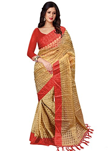 Trendz Cotton Art Silk Saree(TZ_Orange_Art)
