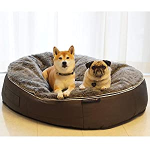 Ambient Lounge XL Deluxe Dog Bed with Hygienic Washable Faux Fur Cover & Chew-Resistant Waterproof Base