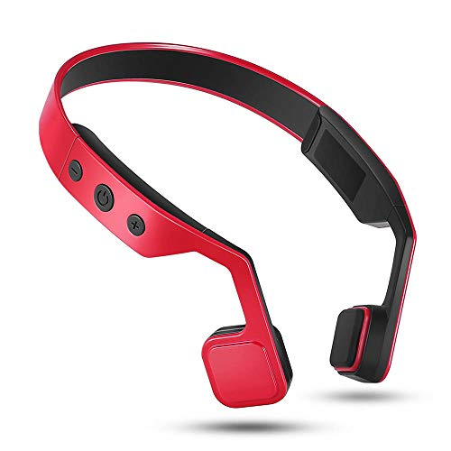 HLKYB Bone Conduction Headset, Bluetooth 4.0 Headphone Waterproof Neck Strap Outdoor Sports Music for Hands-Free Headphones w/mic,Red - Red Hands Free-headset