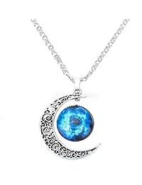 85927a4cf375 Collar Cadena Ajustable Colgante Luna Creciente Joyería Regalo para Mujer  Moda Color Plata   11