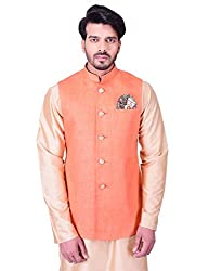 Manyavar Mens Waist Coat (WC00112-318_Orange_Small)