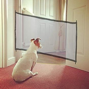 Mesh Pets Safety Gate Door Clôture de sécurité pour animaux Isolateur pliable Chien Chat Filet de protection rétractable Garde de sécurité pour animaux avec bâtons et crochets extensibles(Noir)