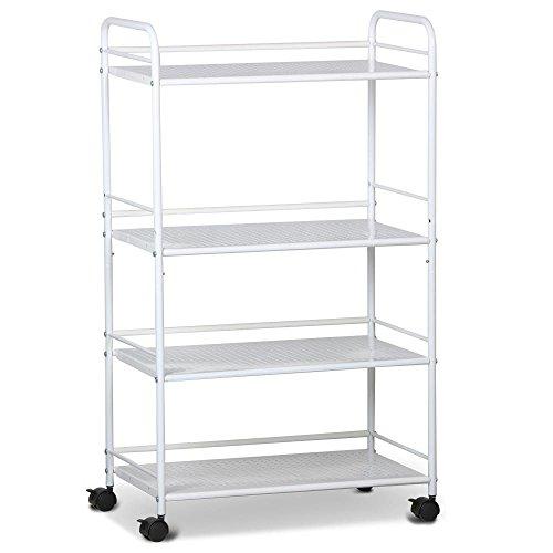 Yaheetech 4 Shelf Large Beauty Salon Trolley Cart Spa Storage Tray Therapy Dentist Hairdresser Treatments, White