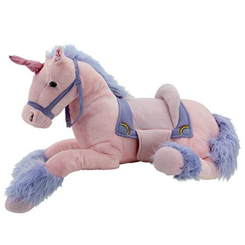 Sweety-Toys-6403-RAINBOW-Einhorn-XXL-Rieseneinhorn-liegend-mit-Sattel-ROSA