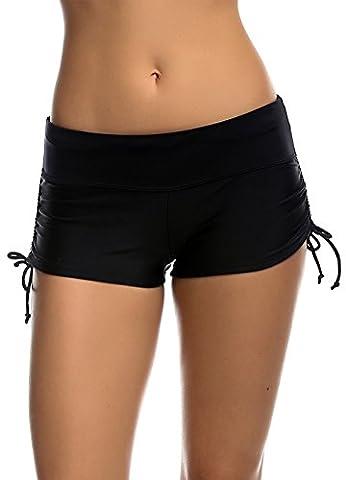 Imixcity® Femmes Shorts de Bain Classique S'adapter pour l' Yoga, Jogging, Natation、Plage 、Piscine (S=FR 34/36, Noir)