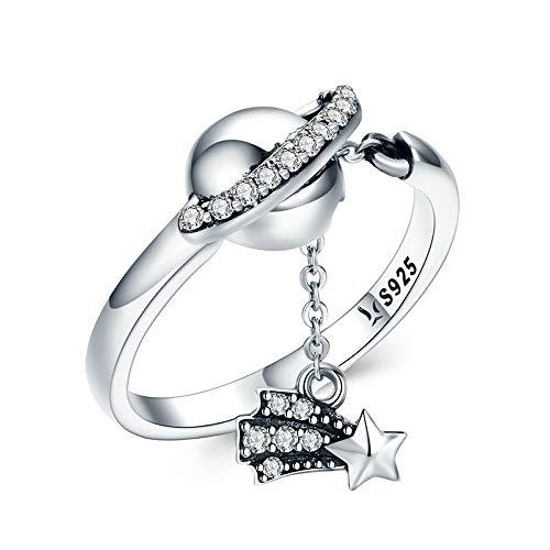 Bijoux Blu Silver Planets Fingerring für Damen, 100% 925 Sterlingsilber, glitzernd, Stern, Blumendesign