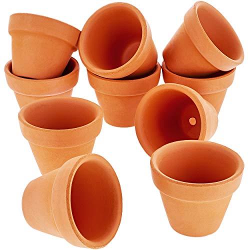 Terrakotta-Blumentöpfe-Set, 10-teilig, kleine Ton-Blumentöpfe, Mini-Pflanzgefäße für Innen- und Außenpflanzen, Sukkulenten-Zurschaustellung, braun-2,5x 3,8cm