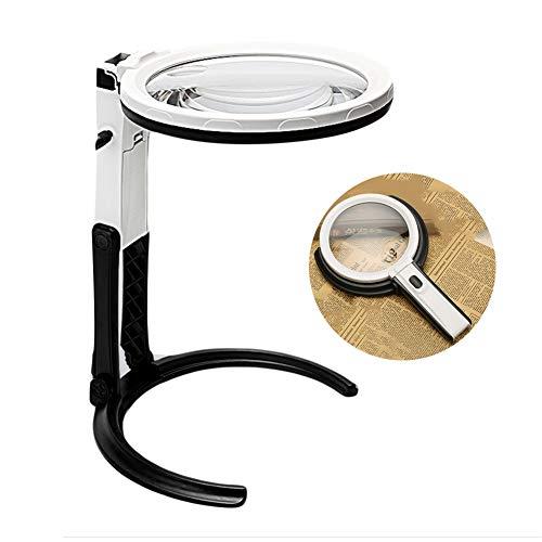 CHUN LING Multifunktionale, zusammenklappbare, tragbare, beleuchtete Lupe mit 12 LED-Lampenperlen und ergonomischem Griff, leichtes Design, geeignet für Bastler und Senioren -
