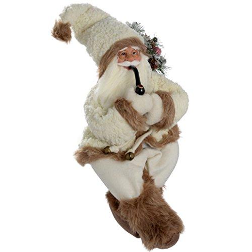 WeRChristmas - Figura de Papá Noel con pipa (60 cm), color blanco y marrón