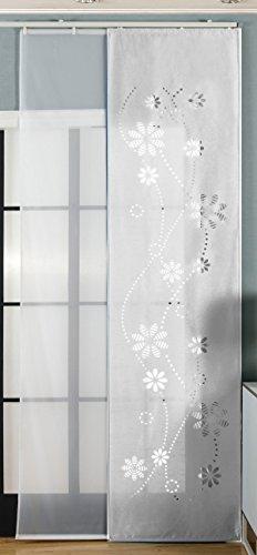 2er-Pack Schiebegardine Flächenvorhang, Albi Weiß , 245x60 cm (HxB) Lasercut Wildseide Optik Voile inkl. Paneelwagen und Beschwerungsstangen, 1656100