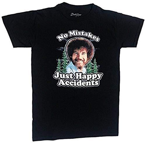 Bob Ross Inc Men's Happy Accidents T-Shirt(Color:Black) - Double Dry Short Sleeve Tee