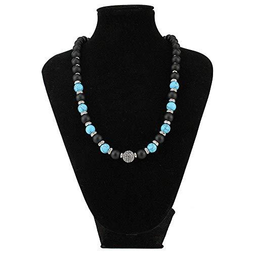 Collana pietre dure naturali onice nero opaco e turchese azzurro con chiusura in argento 925 firmato desja