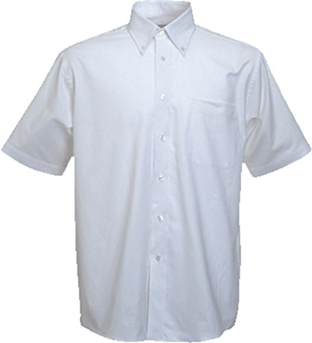 Fruite of the Loom Herren Kurzarm Oxford Hemd Weiss