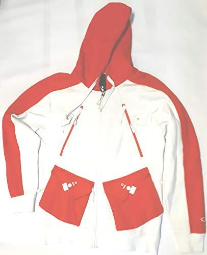 Oakley Block Fleece Zip Hoodie weiß/orange Herren NEU, Größe:S Block Zip Hoodie