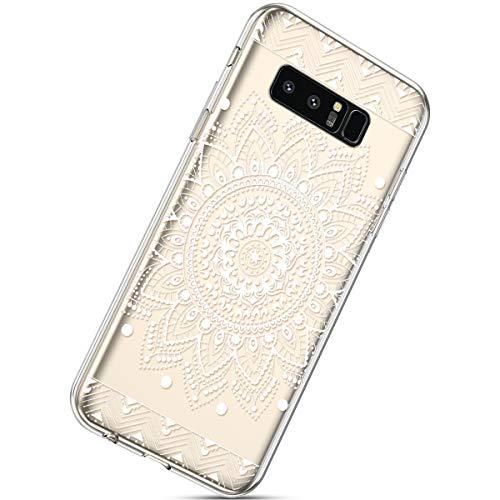 Handyhülle Kompatibel mit Galaxy Note 8 Durchsichtig Silikon Schutzhülle Kratzfeste Kristall Transparent Silikonhülle Crystal Clear TPU Bumper Case TPU Cover Weich Hülle,Weiße Blume