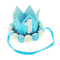 Adorable Baby Boys Girls Glitter 1st One Birthday Silver Gold Elasticated Crown (Turquoise 1)