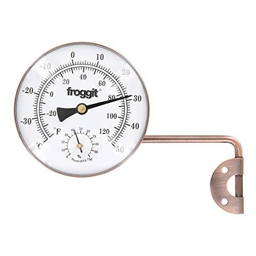 froggit Retro Metall Thermo-Hygrometer (Kupferdesign) Außenthermometer, Luftfeuchte, Temperatur Gartenthermometer