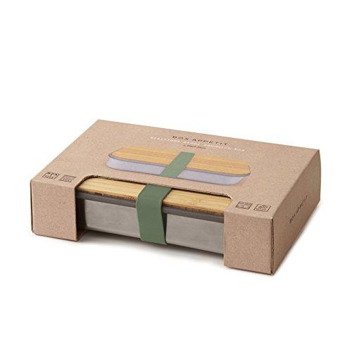 BLACK + BLUM Sandwich-Box aus Edelstahl, Edelstahl, olivgrün, 22.3 x 15 x 5.2 cm