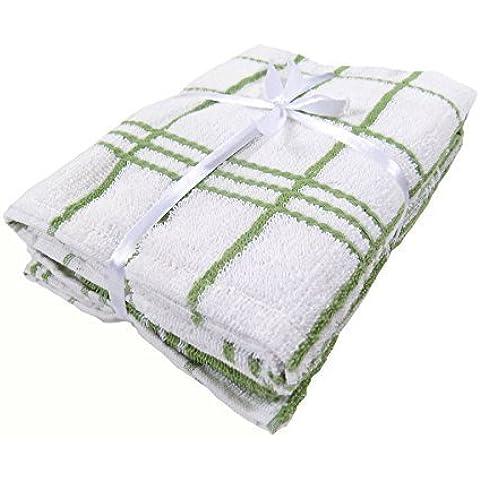 3 x 100% suave grandes paños de algodón blanco verde 40X60CM 40,64 cm X 60,96 cm-