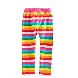 VIKITA Leggings Cotone Pantaloni Righe Arcobaleno Bambine e ragazze F5508 5T