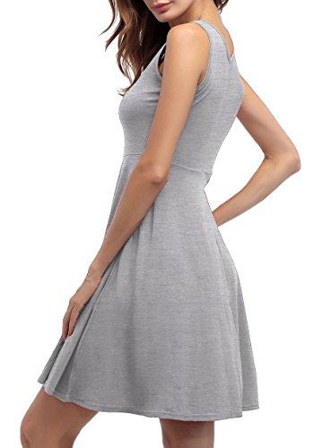 ... ZJCTUO Damen Ärmelloses Beiläufiges Strandkleid Sommerkleid Tank Kleid  Knielang Grau ... 60c45f6e29