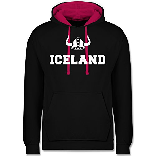 Länder - Iceland + Wikingerhelm - Kontrast Hoodie Schwarz/Fuchsia