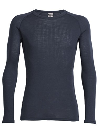 Icebreaker Top da uomo a maniche lunghe Body Fit Basics, Girocollo, Uomo, Everyday Long Sleeve Crewe, Stealth, S