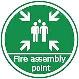 Fuego montaje punto, salud y seguridad pegatina de suelo, 500mm de diámetro. Resistente nominal de marcador de suelo de seguridad (R11)