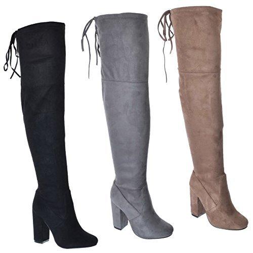 Miss Image UK NEUF pour femmes au dessus du Genou Bas fête Extensible Bloque MI TALON HAUT MASSIF fermeture éclair bottes chaussures taille