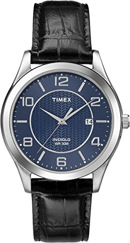 timex-mens-quartz-watch-with-blue-dial-analogue-display-and-black-leather-strap-t2p451