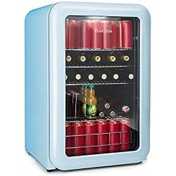 Klarstein Poplife Nevera de Bebidas • Nevera Retro • Mini nevera vintage • 115 litros • 0-10°C • Puerta con Doble acristalado • Iluminación LED • Solo 39 dB • Azul