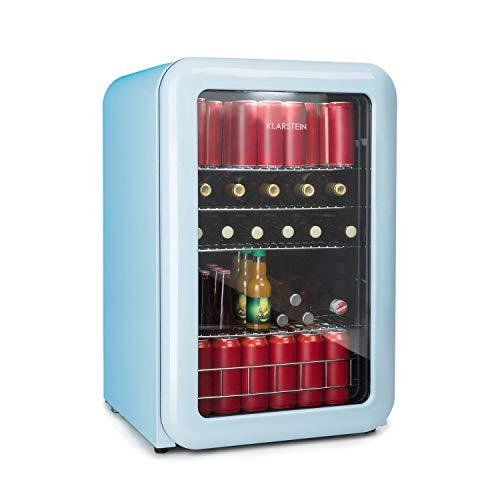 Klarstein PopLife Getränkekühler • Retro-Kühlschrank • Mini-Kühlschrank • 115 Liter • 0-10°C • doppelt verglaster Fronttür • LED-Licht • nur 39 dB • blau