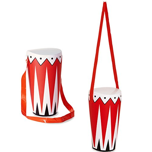 Aufblasbare Trommel Deko Bongo Dschungel Party Buschtrommel Zulu Pauke Partydeko Musiker Band Musikinstrument Musik Mottoparty Accessoire aufblasbar Karnevalskostüme Zubehör