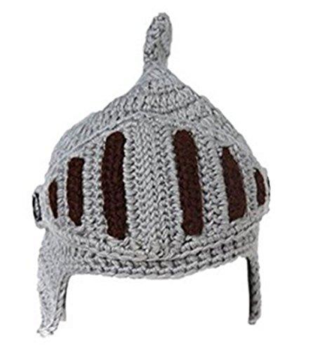 EJY Neuheit römischen Ritter Helm Caps Handgemachte Knit warme Winter-Maske Mützen Kid Partei-Schablone Mützen (kleine für Kinder, grau)