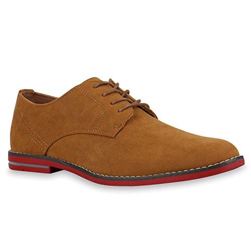 Herren Halbschuhe | Business Schuhe Veloursleder-Optik |Klassische Schnürer | Denim Lochung Geflochten Hellbraun Rot