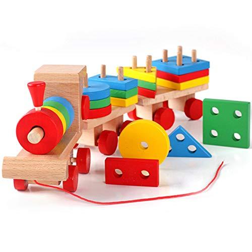 aerialjump Klassisches Hölzernes Zug-Kleinkind-Spielzeug, Geometrisches Stapeln des Puzzle-Holzblocks, Der das Spiel-Gebäude-pädagogische Spielwaren Geschenke - Kreis Holz-puzzle