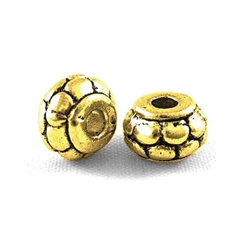 Packet of 30 x Antique Gold Tibetan 5 x 8mm Rondelle Spacer Beads - (HA15040) - Charming Beads