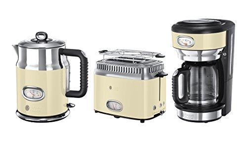 Russell Hobbs Frühstück-Set 3-tlg. Kaffeemaschine + Wasserkocher + Toaster Retro Vintage Cream Serie in cream/Edelstahl