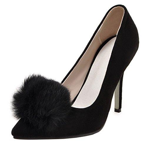 ENMAYER Femmes PU Matériel Pointu-Toe Nubuck Slip-On Sandales Lovely Plush Ladies Pumps Noir