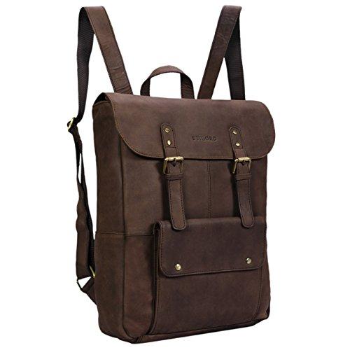 STILORD 'Manila' Vintage Leder Rucksack Damen Herren XL Lederrucksack DIN A4 braune Rucksackhandtasche mit 15,6 Zoll Laptopfach großer Daypack aus echtem Leder, Farbe:matt - - Lehrer-notebook-rucksack