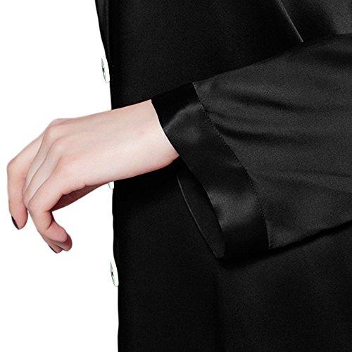 LULUSILK Damen 22 Momme Seide Nachtwäsche Pyjama Set Lang Elegant Schlafanzug Set Schwarz